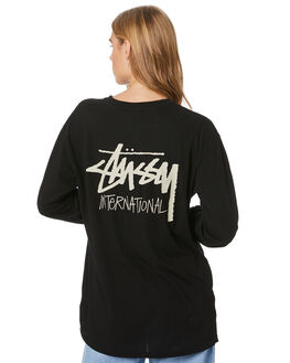 BLACK WOMENS CLOTHING STUSSY TEES - ST106004BLK