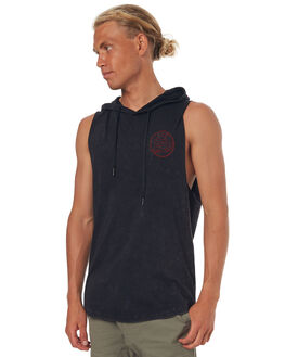 WASHED BLACK MENS CLOTHING SILENT THEORY SINGLETS - 4001042WBLK
