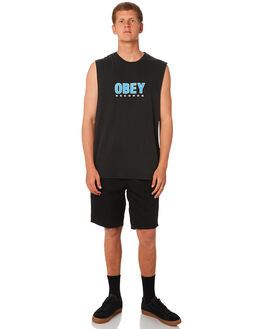 BLACK MENS CLOTHING OBEY SINGLETS - BY088004BLK