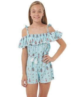BOHO AQUA PRINT KIDS GIRLS EVES SISTER PLAYSUITS + OVERALLS - 9900052PRNT