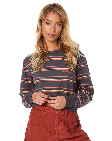 CHARCOAL STRIPE WOMENS CLOTHING AFENDS JUMPERS - 55-03-037CHAR