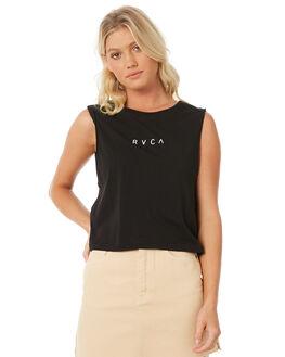 BLACK WOMENS CLOTHING RVCA SINGLETS - R281666BLK