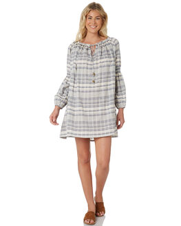 BLUE GINGHAM WOMENS CLOTHING SAINT HELENA DRESSES - SH18SU920BLUE