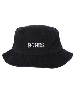 BLACK MENS ACCESSORIES BILLY BONES CLUB HEADWEAR - BBCHAT028BLK