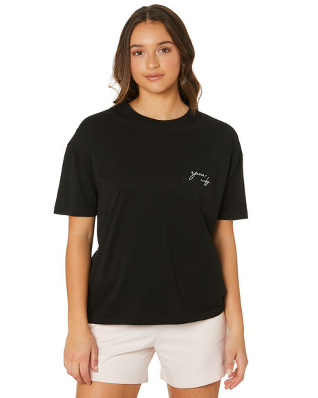 BLACK WOMENS CLOTHING RPM TEES - 21PW03ABLK