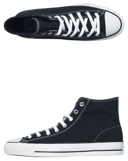 BLACK WHITE MENS FOOTWEAR CONVERSE HI TOPS - 159575BLK