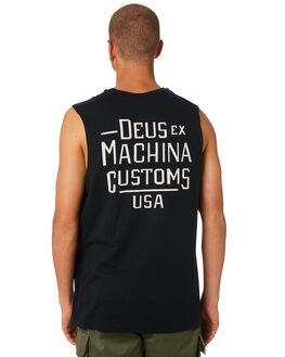 BLACK MENS CLOTHING DEUS EX MACHINA SINGLETS - DMP81566BBLK