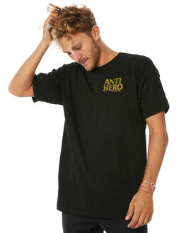BLACK MENS CLOTHING ANTI HERO TEES - LILBKHROBLK