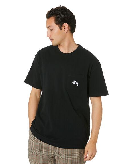 BLACK MENS CLOTHING STUSSY TEES - ST001012BLK