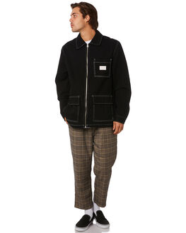 BLACK MENS CLOTHING STUSSY JACKETS - ST096506BLACK