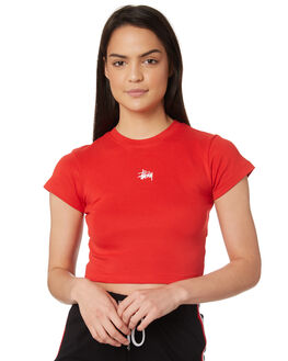 RED WOMENS CLOTHING STUSSY TEES - ST195101RED