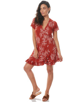 RUST FLORAL WOMENS CLOTHING RUE STIIC DRESSES - SRC5RFLR