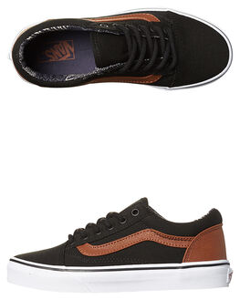 BLACK MATERIAL MIX KIDS BOYS VANS SNEAKERS - VN-A38HBMMKBLK
