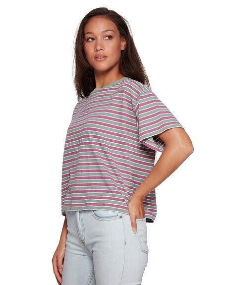 PLUM BERRY WOMENS CLOTHING RVCA TEES - RV-R207683-PBY