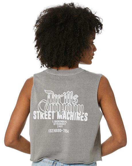 WASHED GREY WOMENS CLOTHING THRILLS SINGLETS - WTR20-157GWGREY