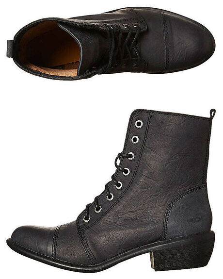 BLACK OILY WOMENS FOOTWEAR ROC BOOTS BOOTS - TERRITORYBLK