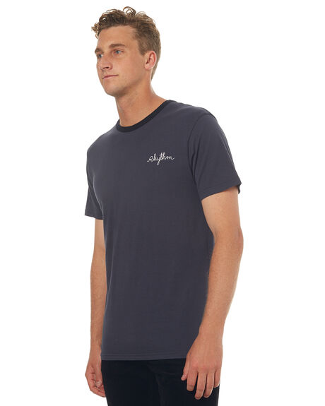 BLACK MENS CLOTHING RHYTHM TEES - JUL17-CT08-BLK