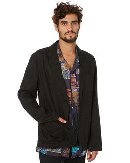 BLACK LINEN MENS CLOTHING BARNEY COOLS JACKETS - 502-SUITBLKLN