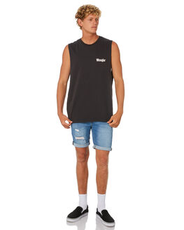 WORN BLACK MENS CLOTHING WRANGLER SINGLETS - 901750082