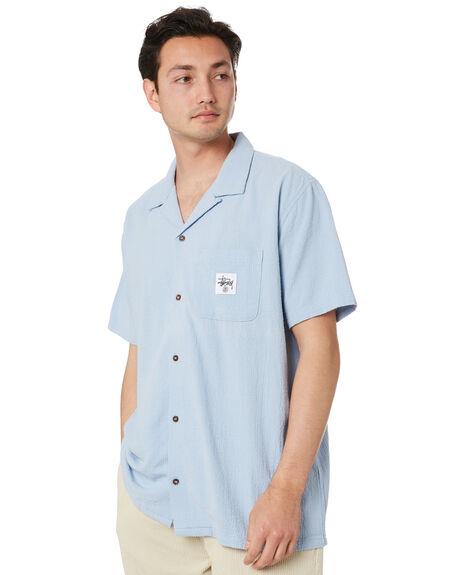 DUSTY BLUE MENS CLOTHING STUSSY SHIRTS - ST005407DSTBL