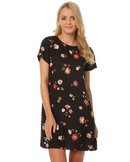 BLACK GARDEN PRINT WOMENS CLOTHING ALL ABOUT EVE DRESSES - 6401046PRNT