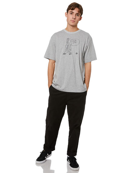 MEDIUM GREY HEATHER MENS CLOTHING ADIDAS TEES - GL9975MGH