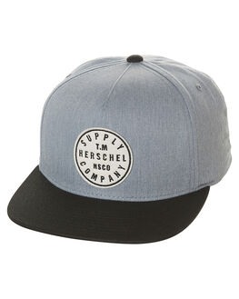 HEATHERED GREY BLACK MENS ACCESSORIES HERSCHEL SUPPLY CO HEADWEAR - 1079-0348-OSGYBK