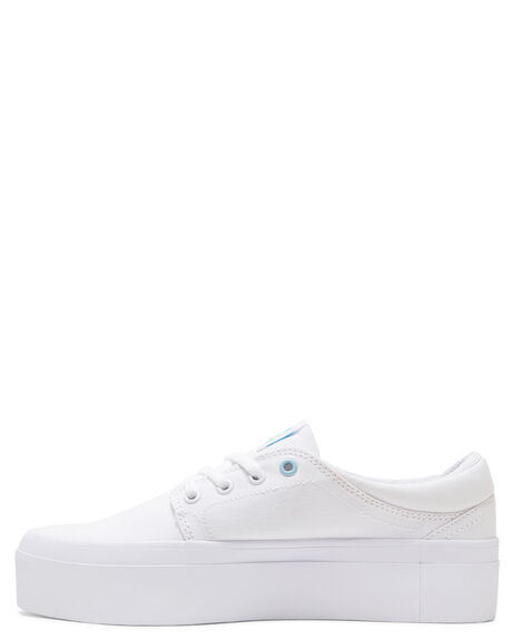 WHITE/WHITE/BLUE WOMENS FOOTWEAR DC SHOES SNEAKERS - ADJS300184-XWWB