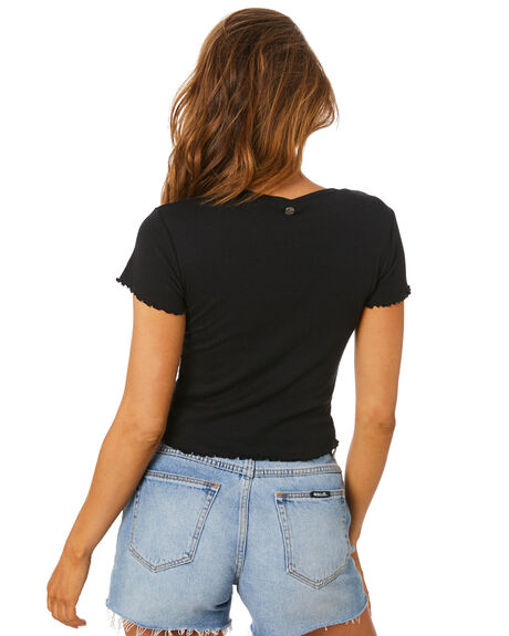 BLACK WOMENS CLOTHING ALL ABOUT EVE TEES - 6401012BLK