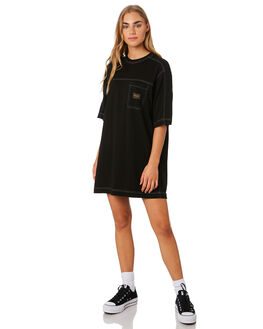 BLACK WOMENS CLOTHING STUSSY DRESSES - ST192505BLK