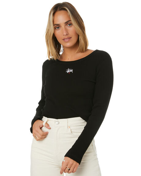 BLACK WOMENS CLOTHING STUSSY TEES - ST106114BLK