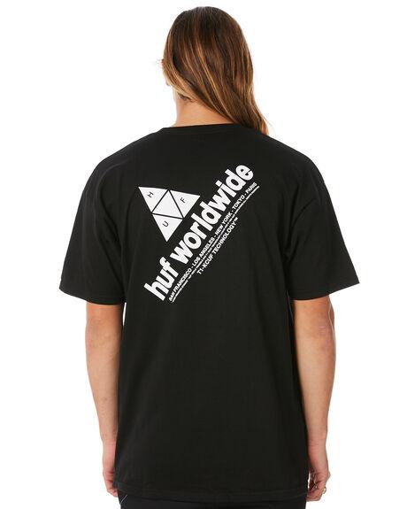 BLACK MENS CLOTHING HUF TEES - HUF-TS00338-BLK