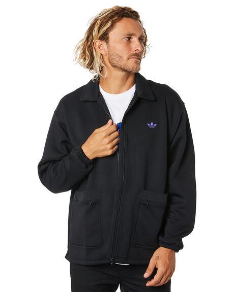 BLACK PURPLE MENS CLOTHING ADIDAS JACKETS - FM1408BLKPR