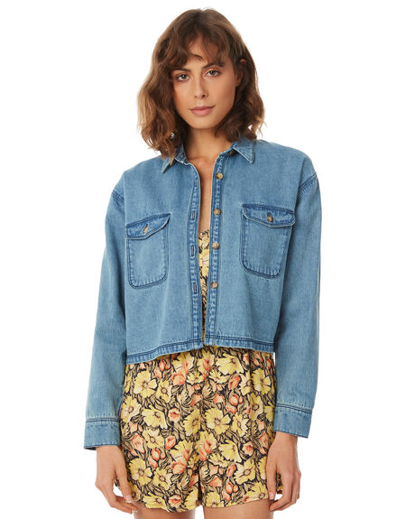 STONE BLUE OUTLET WOMENS AFENDS FASHION TOPS - W183100-STNBLU