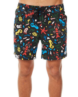 DIRTY BLACK MENS CLOTHING BANKS BOARDSHORTS - BS0147DBL
