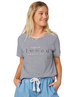 NAVY WHITE STRIPE WOMENS CLOTHING ELWOOD TEES - W91106AV0