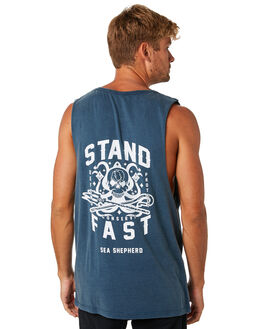 WASHED NAVY MENS CLOTHING SEA SHEPHERD SINGLETS - SSA897NWSNVY