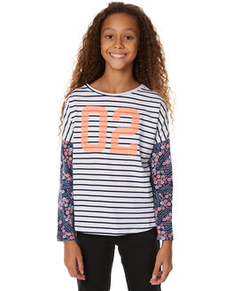 WHITE & NAVY KIDS GIRLS EVES SISTER TEES - 9990002STR