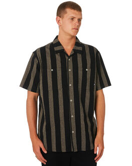 BLACK MENS CLOTHING STUSSY SHIRTS - ST091405BLK