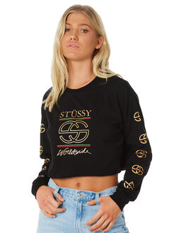 BLACK WOMENS CLOTHING STUSSY TEES - ST186000BLK
