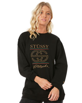 BLACK WOMENS CLOTHING STUSSY JUMPERS - ST185326BLK