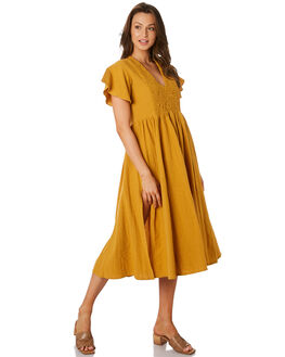 GOLDEN YELLOW WOMENS CLOTHING RUE STIIC DRESSES - RWS-19-49-1GLDYL