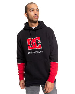 BLACK/RACING RED MENS CLOTHING DC SHOES JUMPERS - EDYFT03464-XKKR