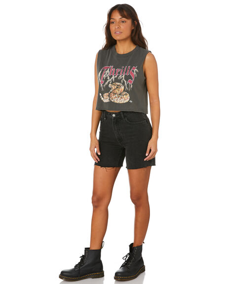 MERCH BLACK WOMENS CLOTHING THRILLS SINGLETS - WTH20-155BMMBLK