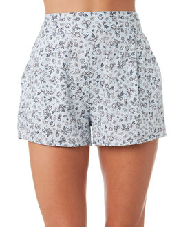 BLUE DITSY PRINT WOMENS CLOTHING ALL ABOUT EVE SHORTS - 6423056PRT2