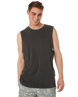 PIRATE BLACK MENS CLOTHING RVCA SINGLETS - R181013PBLK