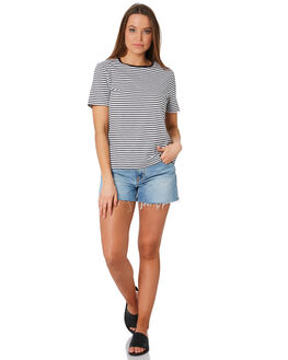 BLACK WHITE WOMENS CLOTHING SWELL TEES - S8201009BKWHT
