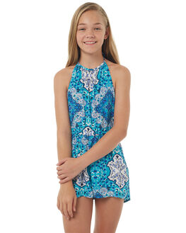 TURQUOISE KIDS GIRLS RIP CURL PLAYSUITS + OVERALLS - JDRAW10074