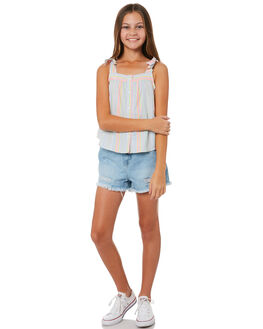 BLUE NEON STRIPE KIDS GIRLS EVES SISTER FASHION TOPS - 9920083BLSTR