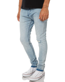 FOGGY BLUE RIP MENS CLOTHING ZANEROBE JEANS - 720-RISEFOGBL